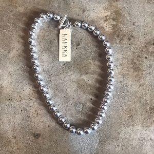 Ralph Lauren Silver Tone Bead Necklace NEW